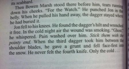 i böckerna jon snows död